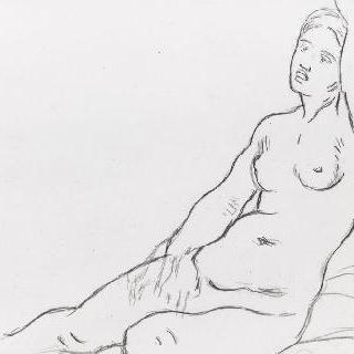 앉아있는 나체의 여인 습작
