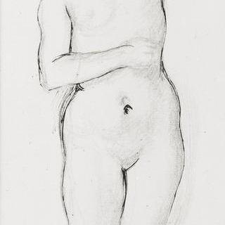 헤스페리데스의 동산의 헤라클레스의 왼팔을 든 나체의 여인 습작