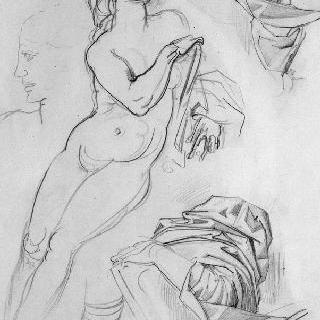 습작 종이 : 벌거벗은 여인, 주름진 옷, 측면 두상