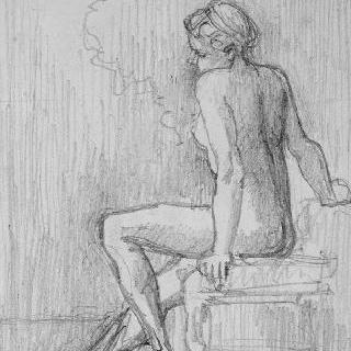 물가의 앉아있는 나체의 여인 습작
