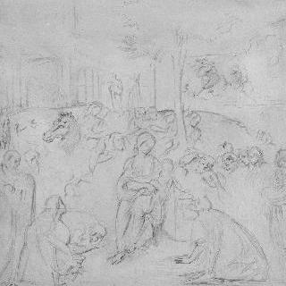레오나르도 다빈치풍의 복제화 (동방박사의 경배, 피렌체의 우피치 미술관)