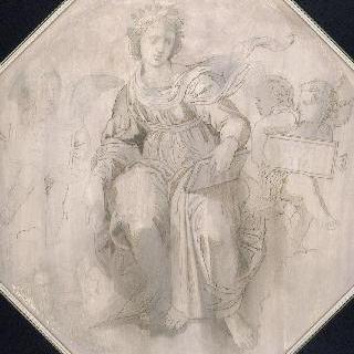 라파엘로풍의 복제화 (신학의 여신, 서명의 전시실의 궁륭 세부 묘사, 바티칸)