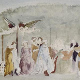 죽음의 여신의 승리 대가풍의 복제화 (과수원의 귀부인, 세부 묘사, 피사의 캄포 산토)