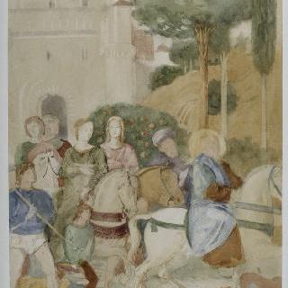 베노초 고촐리풍의 복제화 (아브라함의 가나안 여행, 세부 묘사, 피사의 캄포 산토)