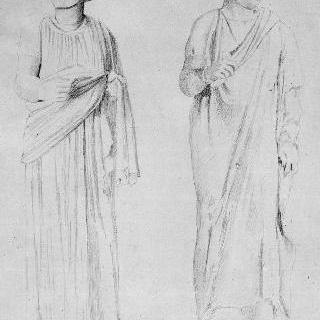 고대 동상 2개 풍의 복제화 (희극 배우들, 나폴리 국립 미술관)
