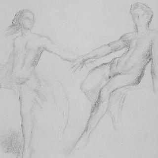 고대 회화풍의 복제화 (아폴론과 요정, 세부 묘사, 나폴리의 국립 미술관)