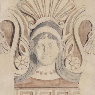 테라코타의 기와 가장자리 장식풍의 복제화 (국립 미술관, 나폴리)