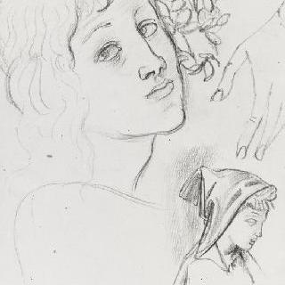 보티첼리풍의 복제화 (성모, 아기예수와 세례 요한, 세부 묘사, 루브르 박물관)
