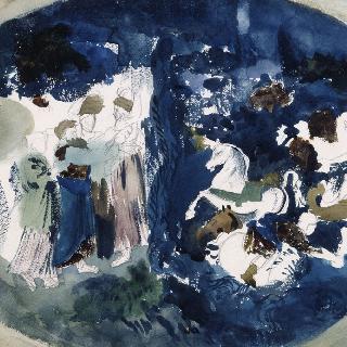 장 쿠르투아의 그림을 그려 장식된 칠보풍의 복제화 (홍해의 통과, 루브르 박물관)