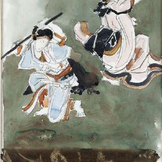 일본 판화풍의 카부키 두 배우들