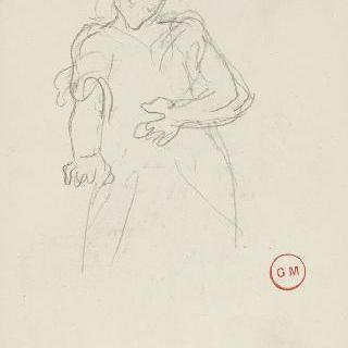 데생 화첩 : 도망치는 다리우스의 토르소 앞의 서 있는 남자의 팔 습작