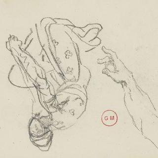 데생 화첩 : 도망치는 다리우스의 무릎꿇은 인물, 손과 팔 습작