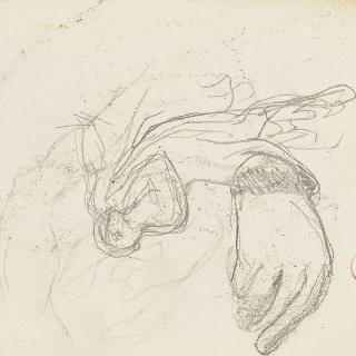 데생 화첩 : 도망치는 다리우스의 누워있는 남자 습작, 손 습작
