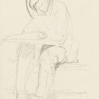 데생 화첩 : 신문을 읽는 앉아있는 남자