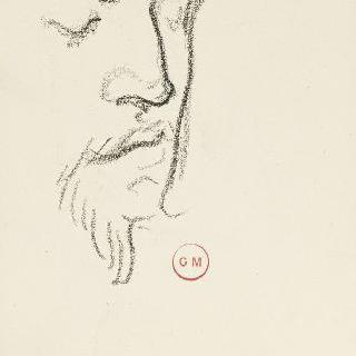 데생 화첩 : 눈을 감은 4분의 3상의 수염난 남자의 얼굴 습작
