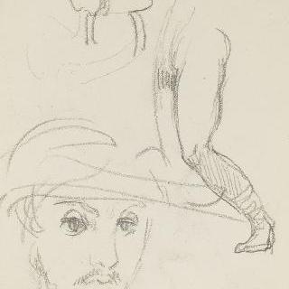 데생 화첩 : 수염난 남자의 정면 두상 습작, 여인 두상 습작, 다리 습작