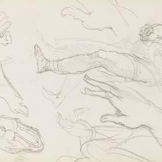 데생 화첩 : 손과 발 습작, 다리 습작과 토르소, 말굽 습작