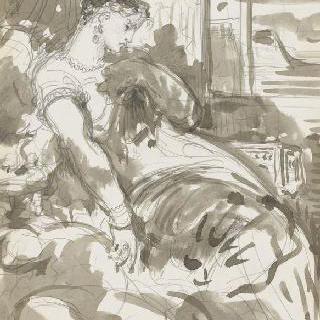 데생 화첩 : 입구 근처에 앉아있는 여인
