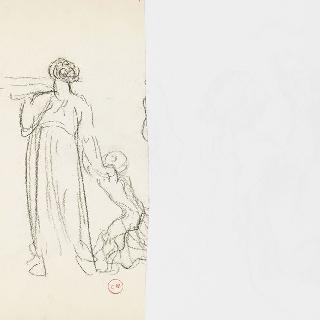 데생 화첩 : 손으로 아이를 잡고 있는 여인의 뒷모습 습작