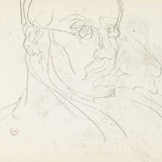 데생 화첩 : 코안경을 쓴 남자의 상반신 초상 습작