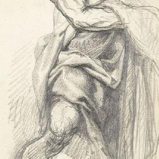 가슴에 오른쪽 팔을 올리고 다리를 벌리고 서 있는 남자 습작, 나체의 토르소