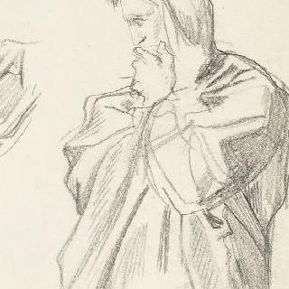 왼손을 입가에 올린 주름진 천을 두른 남자 측면 반신상 습작