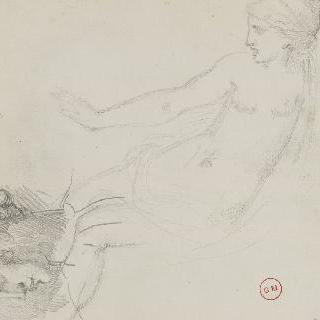 오른팔을 곧게 펴고 앉아있는 나체의 여인 습작, 남자의 두상 옆모습 습작