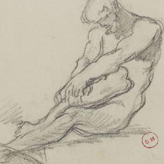 두 손으로 왼쪽 다리를 잡고 앉아있는 벌거벗은 남자 습작