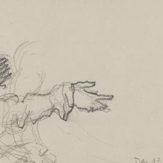 수평 방향으로 오른 팔을 뻗은 여인 반신상 습작