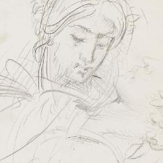 데생 화첩 : 야곱과 천사의 주름진 천을 두른 천사의 왼쪽 다리 습작