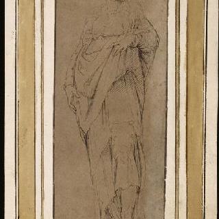 성녀 카트리나 달렉산드리풍의 주름진 옷을 입고 서 있는 여인 (런던, 내셔널 갤러리)