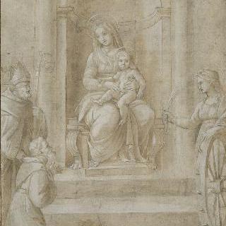 성녀 카트리나와 두 성자와 함께 있는 왕좌에 앉은 성모와 아기 예수