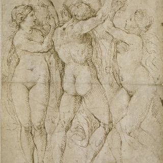 나체의 두 여인 사이의 벌거벗은 남자의 뒷모습