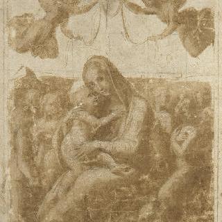 여섯 천사들에게 둘러싸여 날개달린 두 천사 관을 받는 겸허한 성모 마리아
