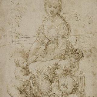 풍경 속 앉아있는 성모, 아기 예수와 작은 세례 요한