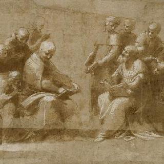 성체의 논의 습작 : 토론하는 20명의 성직자와 사도들