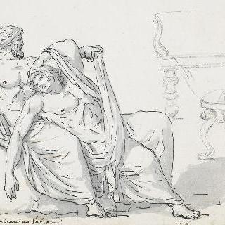 무릎 위에 젊은 남자의 시체를 놓고 앉아 있는 노인