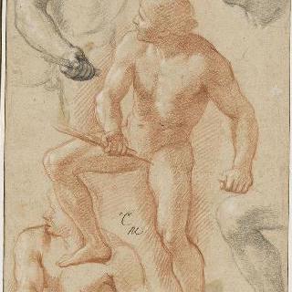 좌측 방향으로 앉아있는 나체의 남자와 다양한 습작들
