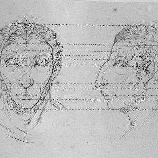 숫양과 연관된 남자들의 두 개의 두상