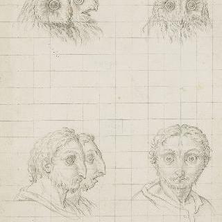 야행성 맹금류의 세 개의 머리와 연관된 인간들의 세 두상
