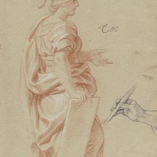 투구를 쓰고 주름진 천을 두르고 서 있는 여인 : 손 습작