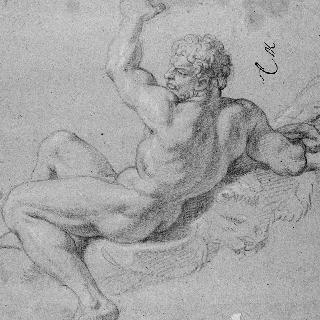 왼 팔을 들고 있는 좌측 방향으로 앉아있는 나체의 남자