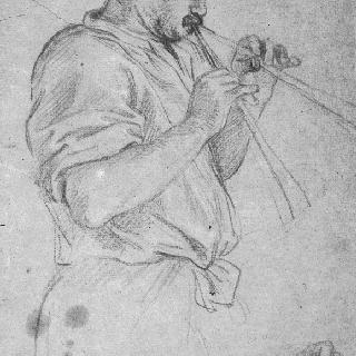 플루트를 연주하는 남자의 반신상