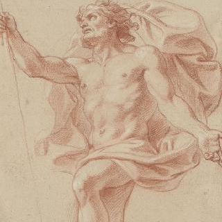 반라의 남자와 그 사람 주위에 날아가는 주름진 천 : 마르스