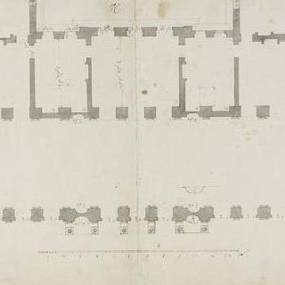 베르사유궁의 대회랑 도면과 인접한 두 개의 살롱의 도면