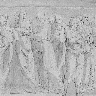 아리스토텔레스, 플라톤, 소크라테스와 열 세명의 남자 ; 아테네 학교 모습