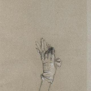 장갑을 낀 여인의 손