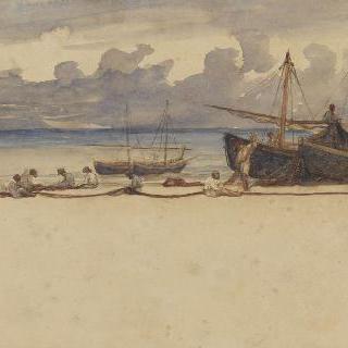 포르토 단지오, 자신의 배 부근에서 그물을 다시 꿰매는 15명의 어부들
