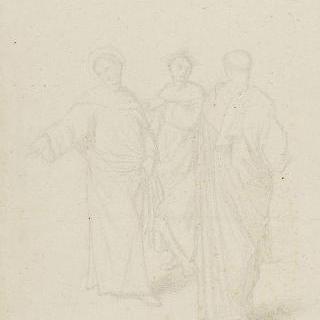 수도사의 외투와 법의를 입은 세 인물들