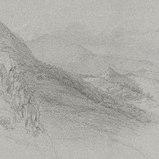 로마의 평야 : 산이 있는 풍경과 먼 곳의 마을